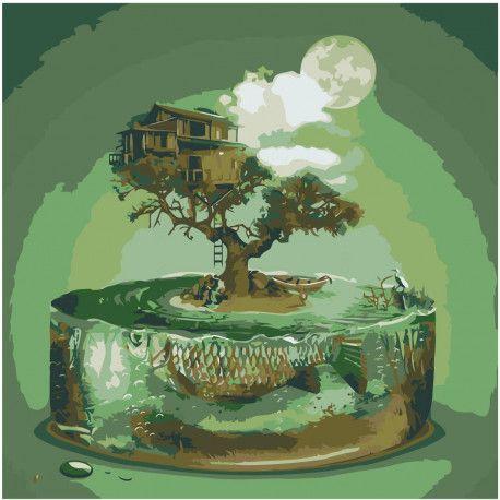 Абстракция, дерево, бонсай, луна Раскраска картина по ...