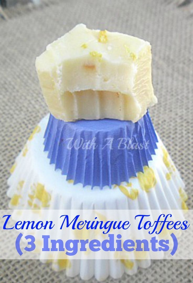 Only 3 everyday pantry ingredients needed to make these creamy, delicious Lemon Meringue Toffees and it really tastes like Lemon Meringue ! #candy #toffees