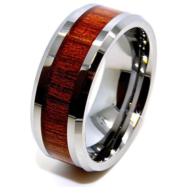 Comfort Fit Cobalt Free Band With Wood Grain Inlay Shape Flat Bevel Edges Finish High Polish Sleek Tungsten Carbide Ring