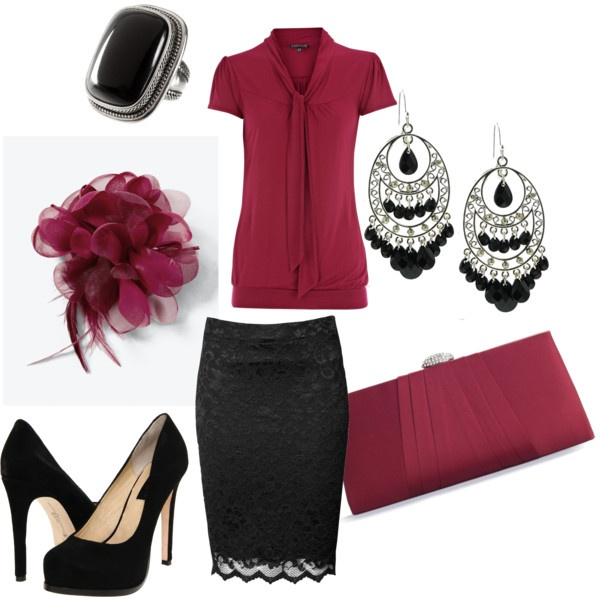 .Black Lace, Fashion, Style, Old Lady, Offices, Pencil Skirts, Work Outfit, Lace Skirts, Red Black
