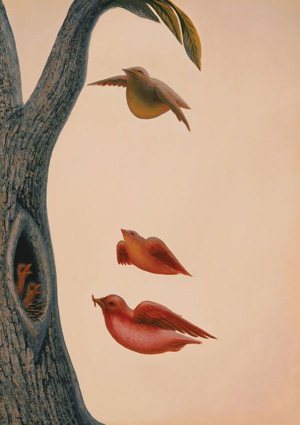 Educated in Mexico City and San Francisco, painter Octavio Ocampo works primarily in the metamorphic style - using a technique of superimposing and juxtaposing realistic and figurative details within the images that he creates.  This image relies on negative space to create two coexisting images.  Is it a group of birds, a woman's face, or both?  (Images courtesy of Visions Fine Arts Gallery: http://www.visionsfineart.com)