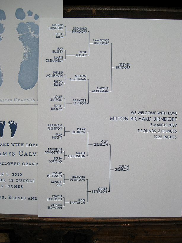 [Family Tree Birth Announcement] great way to honor both ancestry and a newborn.