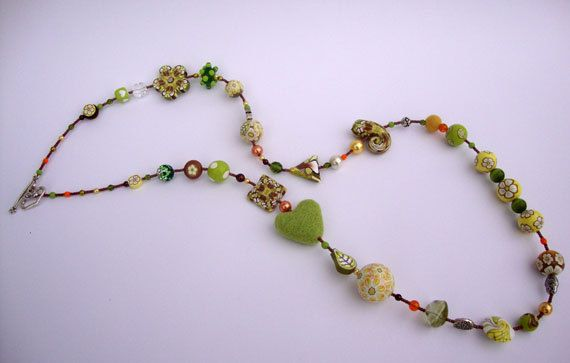Long beaded necklace Lemon & Lime MADE TO by Stephshandmadebeads