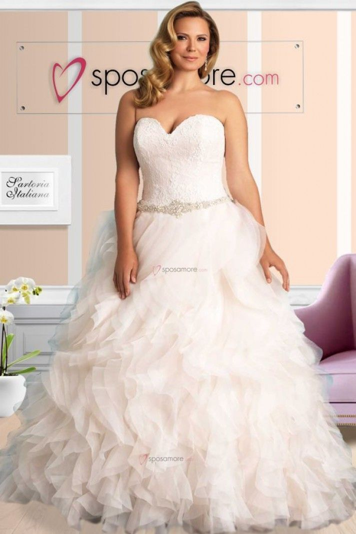 Cristin - abiti per spose formose stile principessa in organza con cintura di strass e perline, scollo a cuore