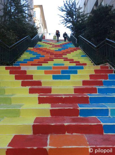 Lyon (France - 69) escalier coloré à Croix Rousse