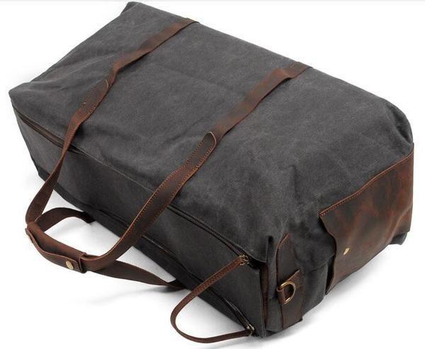 Handmade Waxed Canvas Leather Travel Bag Luggage Weekender Bag AF 13 - ArtofLeather