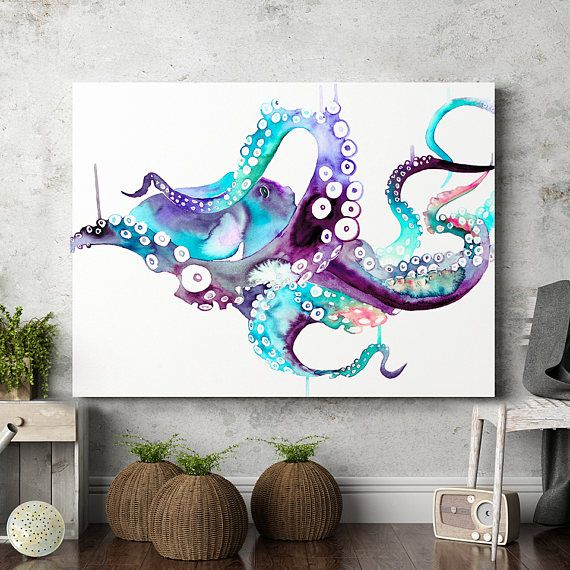 Octopus wall art print poster watercolor painting animal