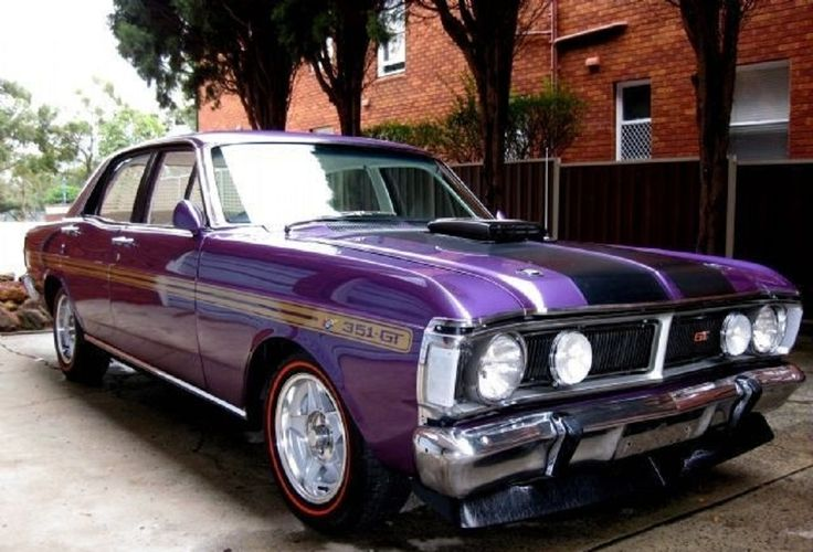 1971 Ford Falcon XY GT Phase III in the colour 'Wild Violet'. In 1971 this was the fastest 4 door production car in the world.