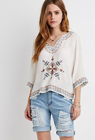 Embroidered Gauze Peasant Top | Forever 21 - 2000184656