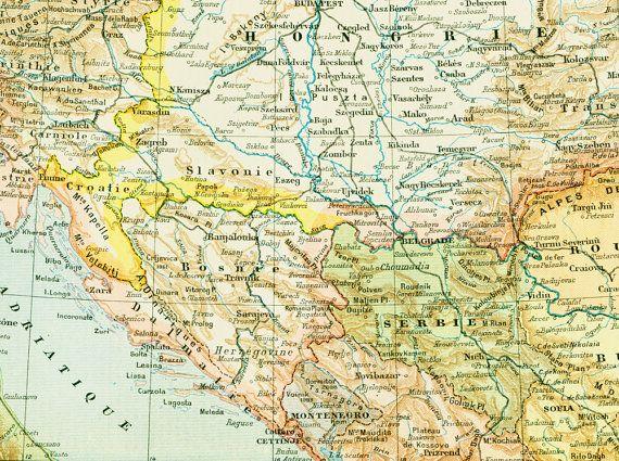 1897 Carte Autriche Hongrie Gravure historique par sofrenchvintage