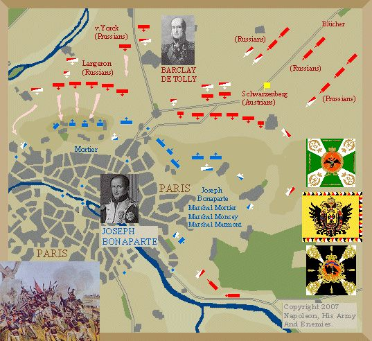 The Battle of Paris was fought on March 30–31, 1814 map.