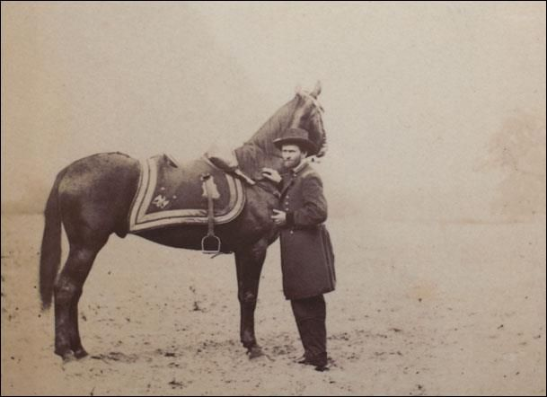 "Ulysses S. Grant and his favored 17 hh Thoroughbred, ""Cincinnati"" in 1885. ""Cincinnati"" was with General Grant throughout the war and was the horse that Grant rode to negotiate Lee's surrender at Appomattox. Grant excelled in horsemanship at West Point. Grant owned many horses in his lifetime, including one named Jeff Davis, so named because he acquired it during his Vicksburg Campaign from Jefferson Davis's Mississippi plantation."