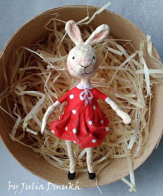 Spun cotton Easter ornament OOAK Art doll Easter ornaments Sunny Easter rabbit Collectibles art doll Batting doll Cotton figurines Cotton spun ornamets Vintage doll