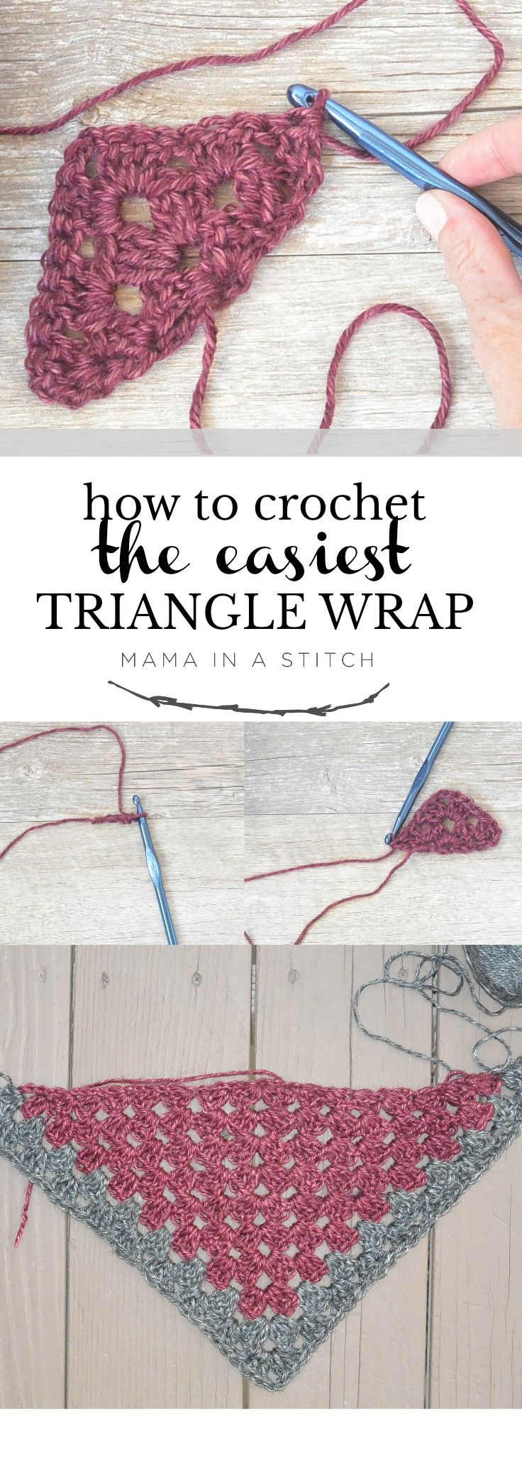 How To Crochet An Easy Granny Triangle via @MamaInAStitch This free tutorial and video shows you how to make a super easy granny triangle. You can make it as large or small as you'd like! #crafts #diy