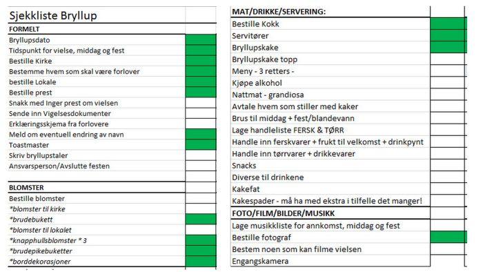 Bryllupsforberedelser - sjekkliste - (Rachel)