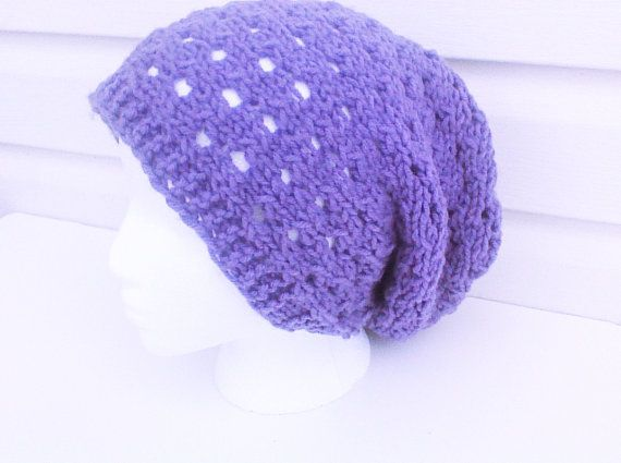 Lavender slouch beanie purple knit hat new style by HandmadeTrend