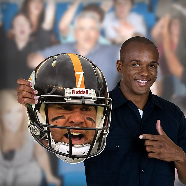 Now you can get your head in the game with your very own cut out of Ben Roethlisberger's face in his Steelers helmet on game day. SHOP http://www.fathead.com/nfl/pittsburgh-steelers/ben-roethlisberger-game-day-big-head/