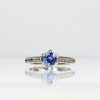 Ready to ship Blue sapphire solitaire engagement ring with white sapphires, size 5.5 by TorkkeliJewellery, $1990.00