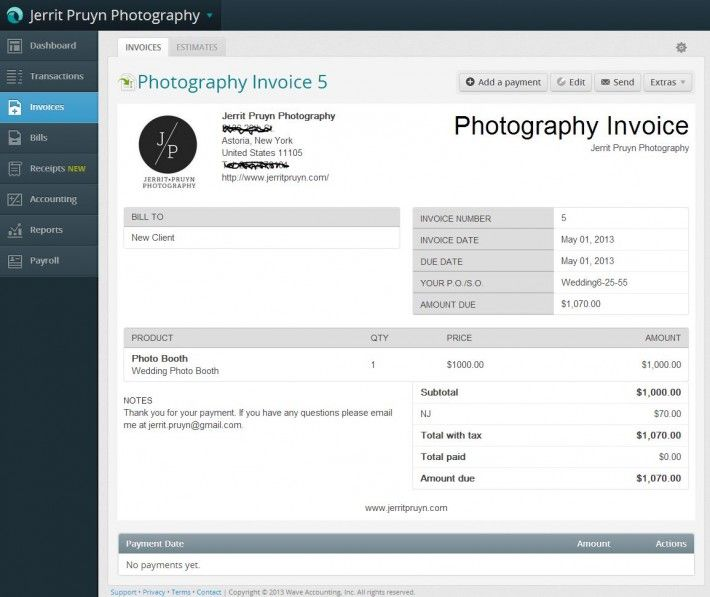 how to write up a photography invoice