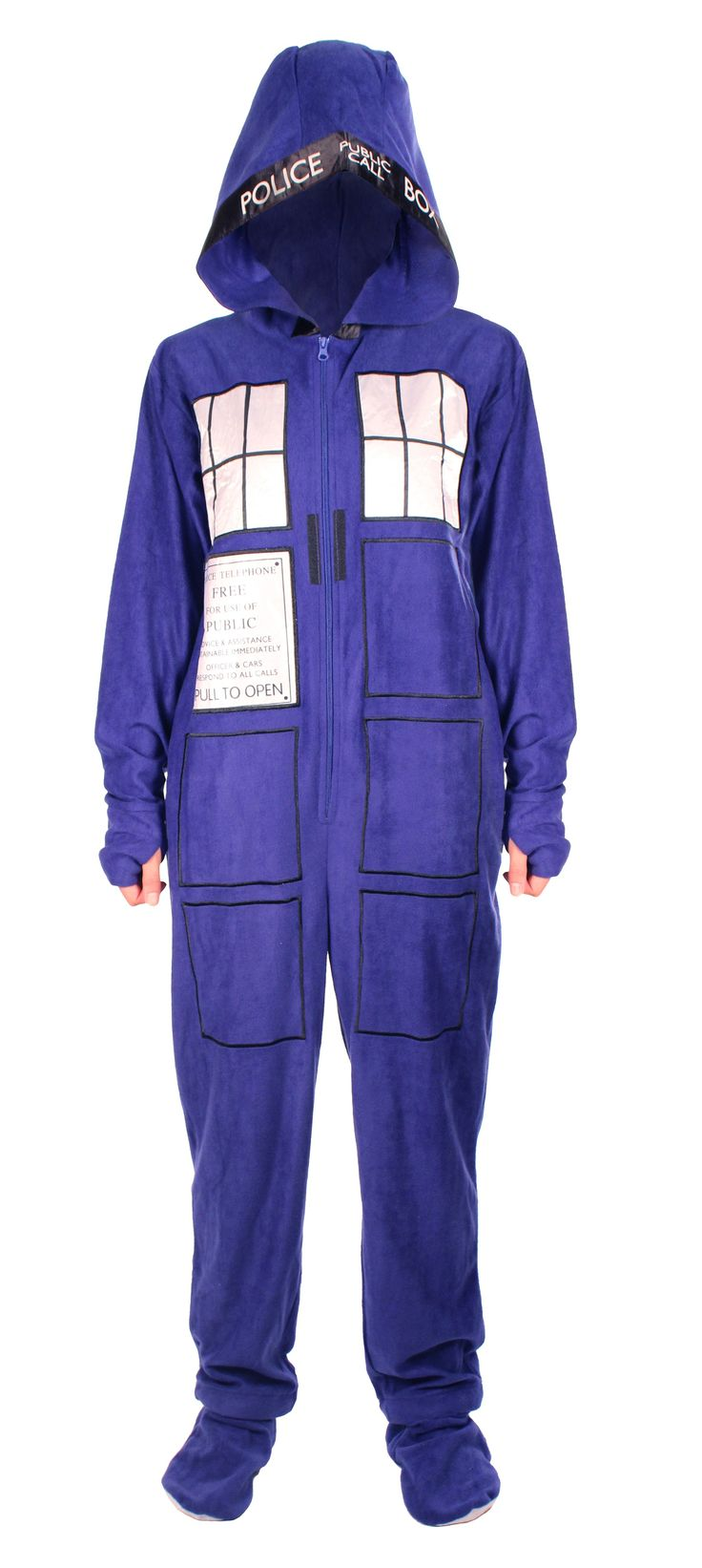 Doctor Who: Tardis Adult Onesie with Removable Feet | Doctor Who Shop :: I got mine for Christmas and I love it! So warm and comfy