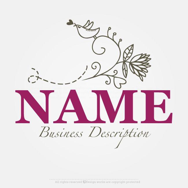 Online Logo Creator – Flower Bird Logo Template
