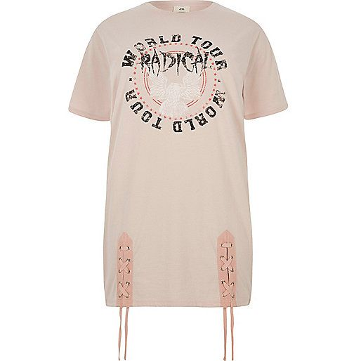 Plus light pink 'radical' lace-up hem T-shirt