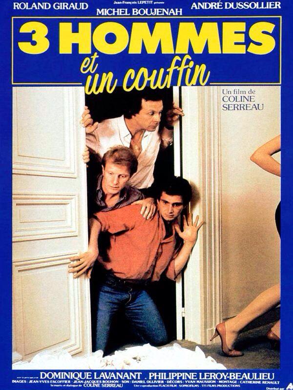 """378. """"Trois hommes et un couffin"""" de Coline Serreau avec André Dussolier, Michel Boujenah et Roland Giraud. 1985"""