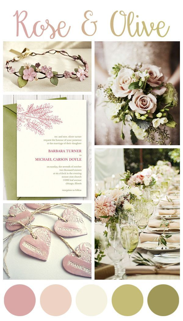 Rose And Olive Green Wedding Inspiration Board Etsy