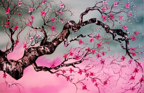 Japanese Cherry Blossom Huge 24x36 Original Abstract Contemporary Tree Oil Painting Heavy Pale Cherry Blossom Painting Acrylic Blossoms Art Japanese Art Modern