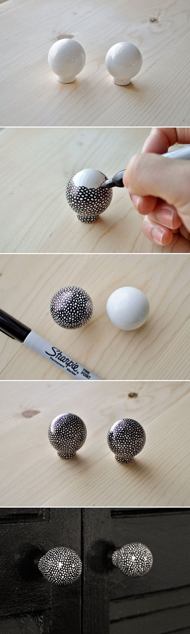 use a sharpie to draw little circles on plain white ceramic knobs for a fun speckled look