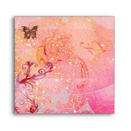 WAVES / GOLD BUTTERFLY IN PINK SPARKLES AND SWIRLS ENVELOPE
