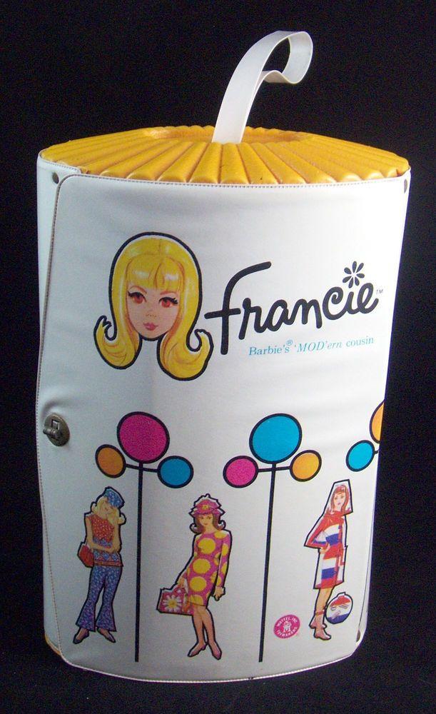 RARE Vintage 1965 Francie Doll Oval Vinyl Case Trunk Barbie Mod Cousin HTF 1023 #case