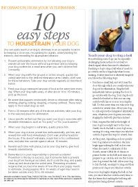 #Veterinary client handout: 10 easy steps for housetraining a dog - Veterinary Medicine - dvm360