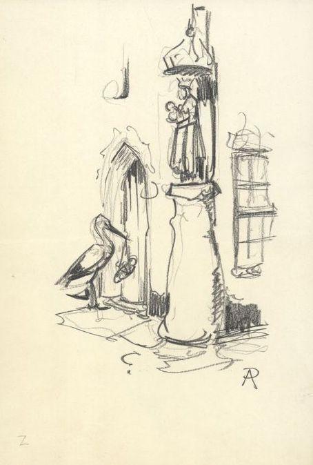 Gesigneerde potloodtekening - ontwerpschets voor geboortekaartje - '45/'46   Formaat:16,2 x 24,2 cm
