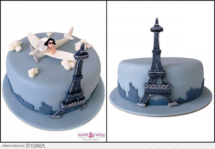 Wieża Eiffla, Paryż, Francja, lot samolotem, samolot, tort dla podróżnika, tort dla miłosnika podróży. podróżowanie, Tarnów