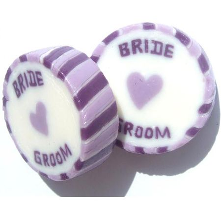 £22.49 Bride and Groom Wedding Favour Rock Sweets Lilac & Purple 545g