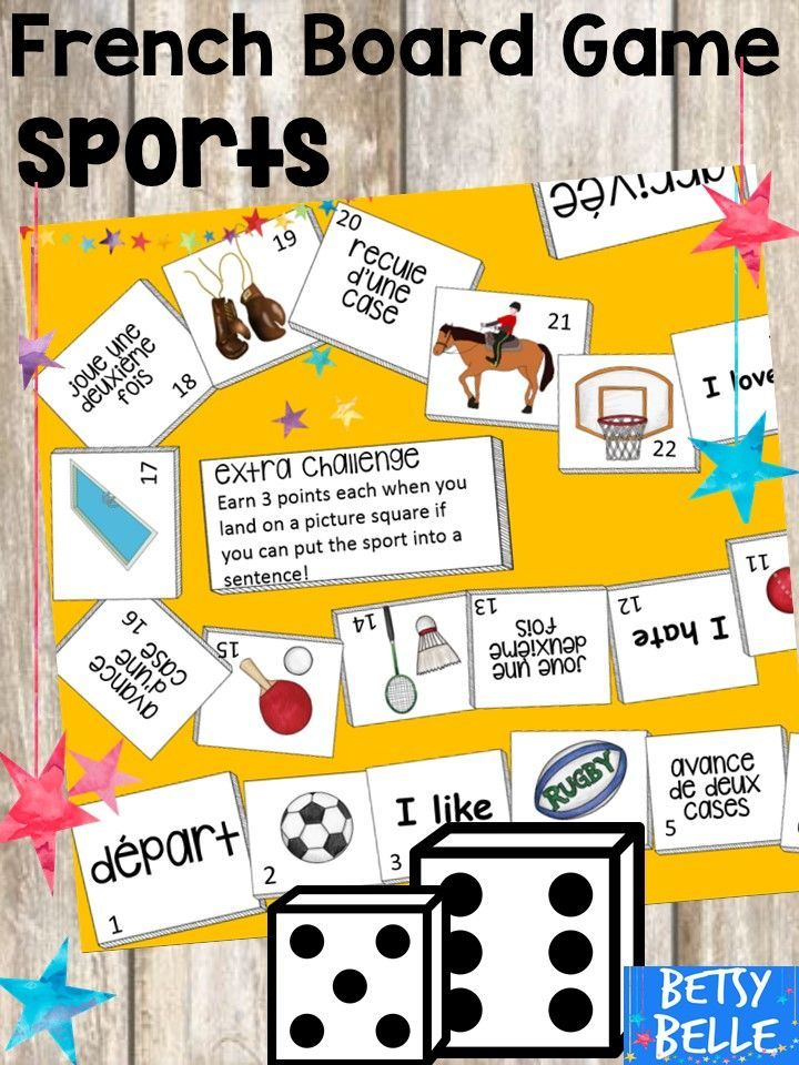 French Board Game Sports World Language Education
