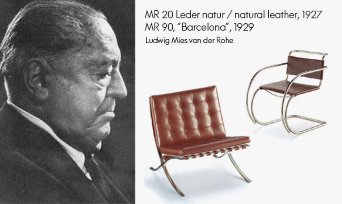 Ludwig Mies van der Rohe has become world-famous for the Barcelona Pavilion which he has planned and realized for the 1929 International Exposition in Barcelona. The Barcelona chair has been created as complement to the unique building.