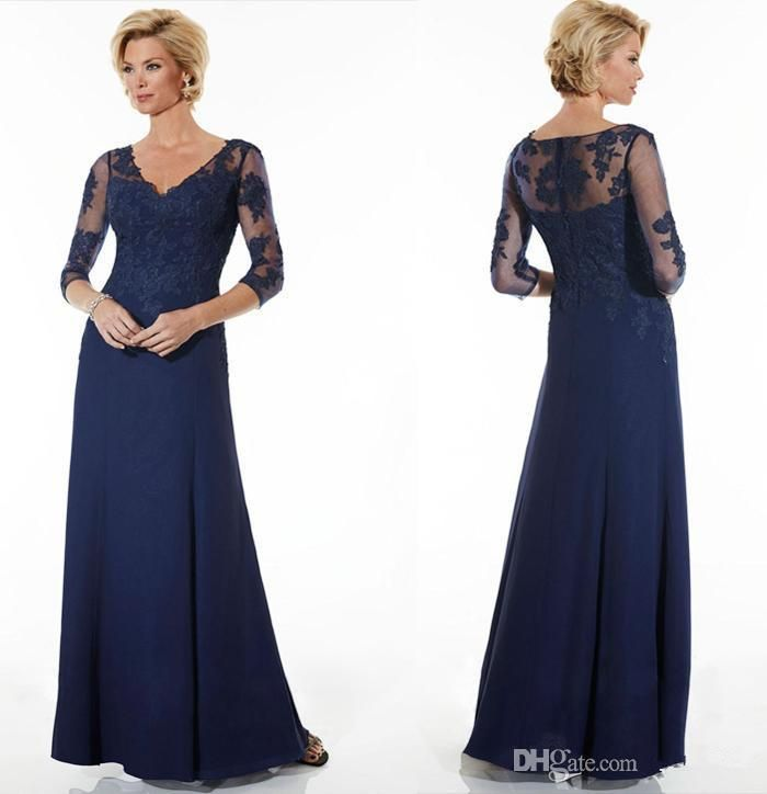 2016 Vintage Navy Blue Mother Of The Bride Dresses Lace Chiffon Cheap Long  Sleeves V Neck Long Evening Wear Gowns Forma…  1b633d682f1a