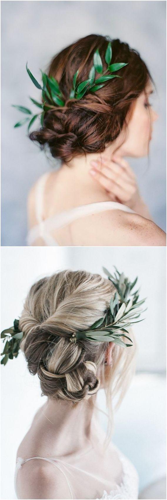 Long wedding hairstyles with greenery #wedding #weddingideas #hairstyles http://www.deerpearlflowers.com/wedding-hairstyles-with-flower-crowns/