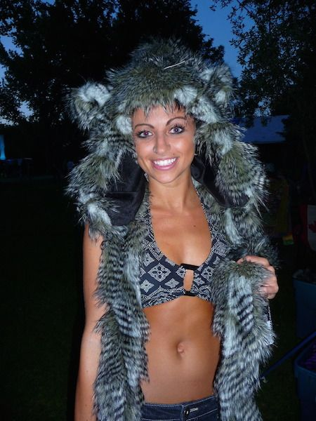 Faux fur animal hood - grey feather. http://bollibears.com/eshop/product/grey-feather-animal-hood/