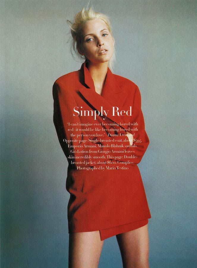 primary-objects:  US Harper's Bazaar December 1993 'Simply Red' Nadja by Mario Testino