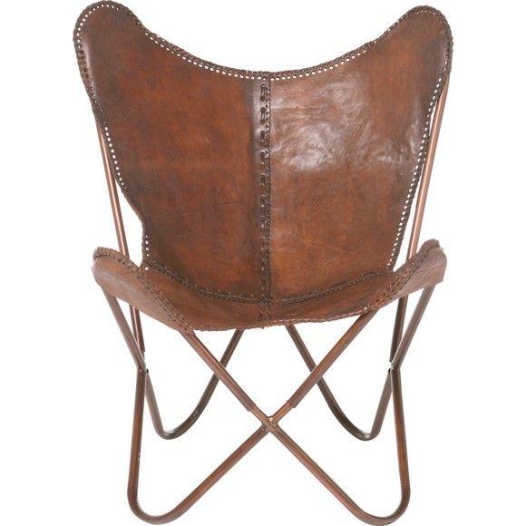 """Der Sessel """"Butterfly"""" ist ein außergewöhnlich schönes Sitzmöbel, das für eine individuelle Einrichtung wie geschaffen ist. Aus echtem Rindsleder gefertigt, bietet der elegante Sessel in Braun Gemütlichkeit für das Jugendzimmer oder die Leseecke. Abgerundet wird der Sessel durch ein filigranes Gestell aus Eisen. Holen Sie sich diesen auserlesenen Sessel für Ihr Zuhause!"""