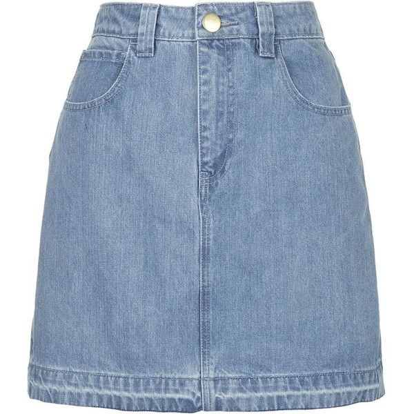Draycott Denim Skirt by Unique (175 AUD) ❤ liked on Polyvore featuring skirts, topshop, bleach, blue skirt, knee length denim skirt, blue denim skirt and denim skirt