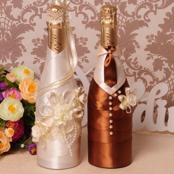 """Оформление свадебного шампанского """"Сливки в шоколаде"""" - - купить по низкой цене в интернет-магазине свадебных аксессуаров """"Да, я согласна"""""""