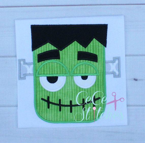 Frankenstein Halloween Applique Design by sapphiremommy on Etsy                                                                                                                                                                                 More