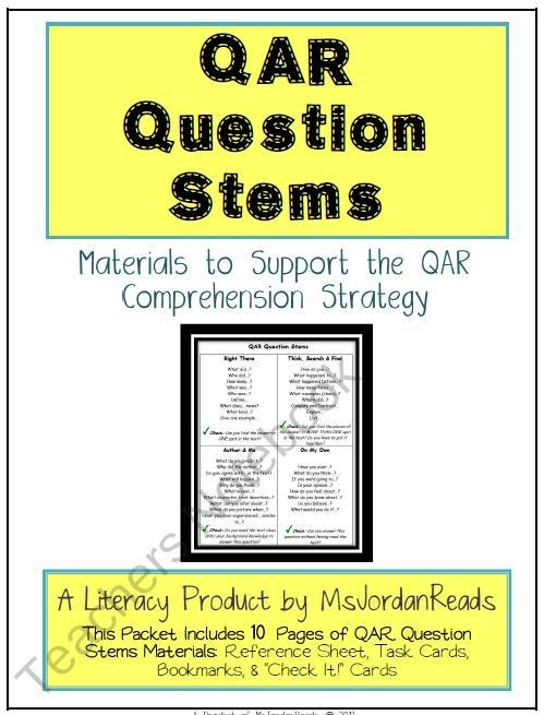 qar a reading comprehension strategy Qar is a strategy that helps students understand different kinds of questions students learn about questions that have one of four types of answers:  improves students' reading comprehension  the teacher can view where students place their post-its to assess the comprehension level of the strategy sq3r what is sq3r this strategy.