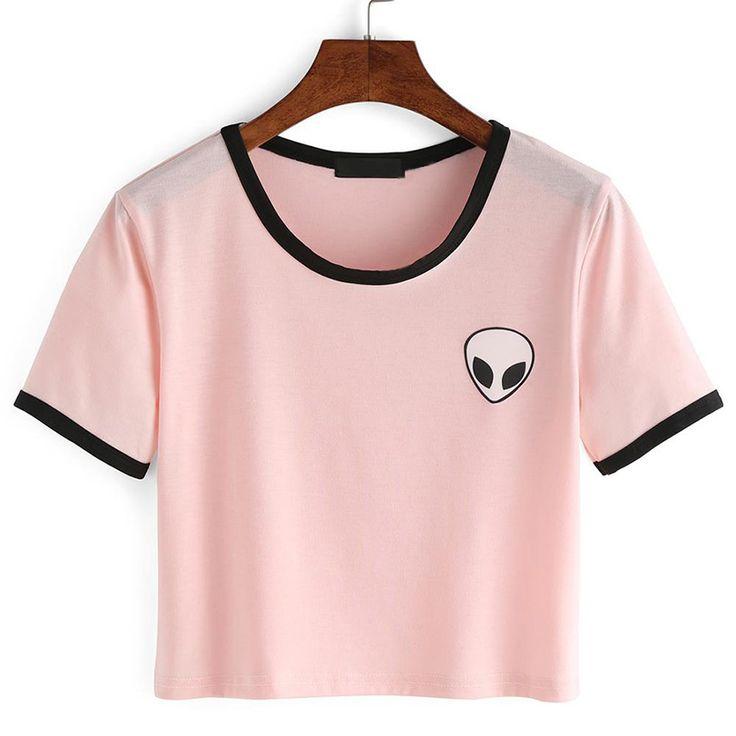 14 Style 2016 Fashion Summer kawaii Design Print Aliens T Shirts Women Short…