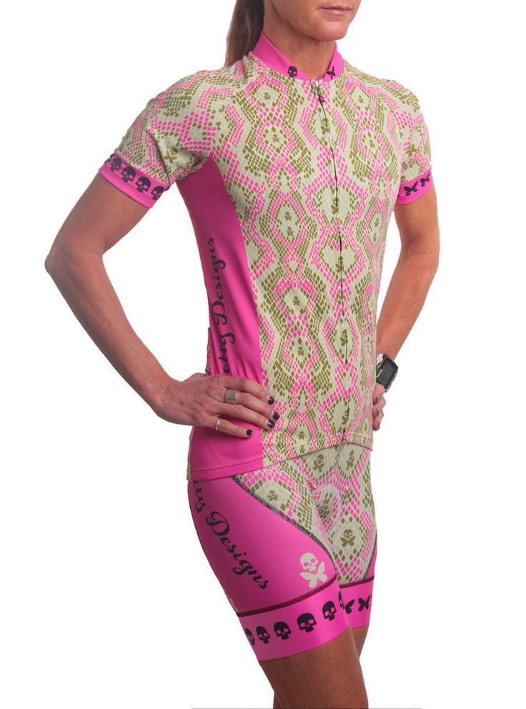 Performance short sleeve jersey with a snakeskin print - BettyStyle™ luxe ultra-light polyester/Lycra© blend fabric with hint of shimmer (bling), quick dry technology + SPF 30 - Race fit (form fitting