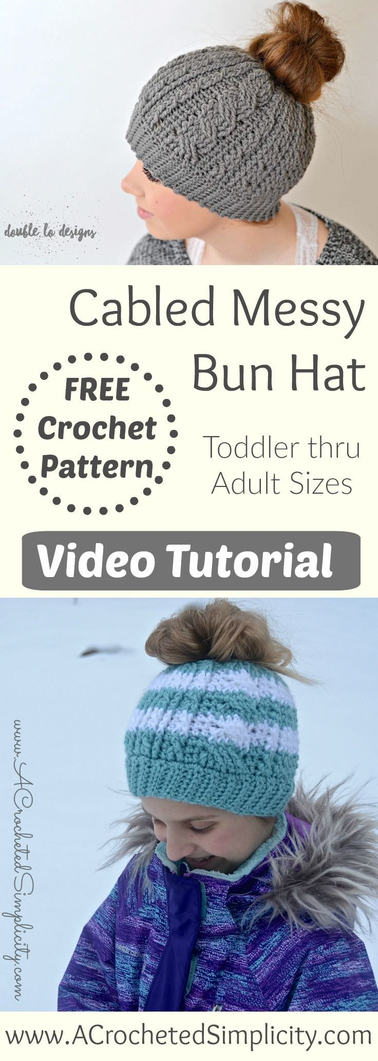 2827 best crochet hats scarfs mittens images on pinterest free crochet pattern video tutorial cabled messy bun hat by a crocheted simplicity bankloansurffo Images